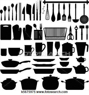 台所用具 シルエット ベクトル クリップアート 切り張り イラスト