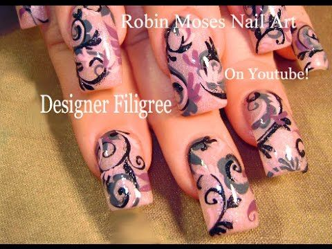 Nail Art Tutorial   Filigree Long Nail Design Tutorial   DIY Nails