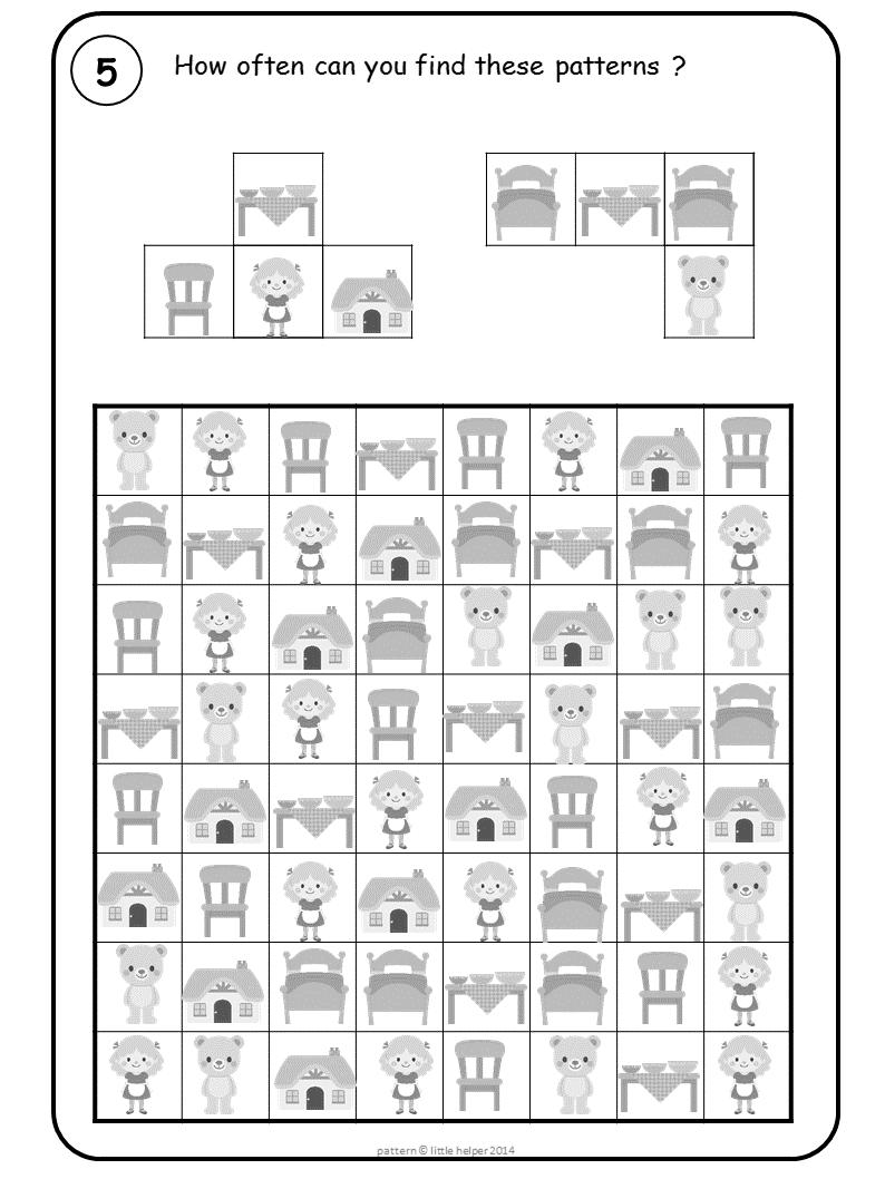 Goldilocks Pattern Challenge For Pre K And Kindergarten Visual Perception Activities Pattern Activities Visual Perceptual Activities [ 1058 x 794 Pixel ]