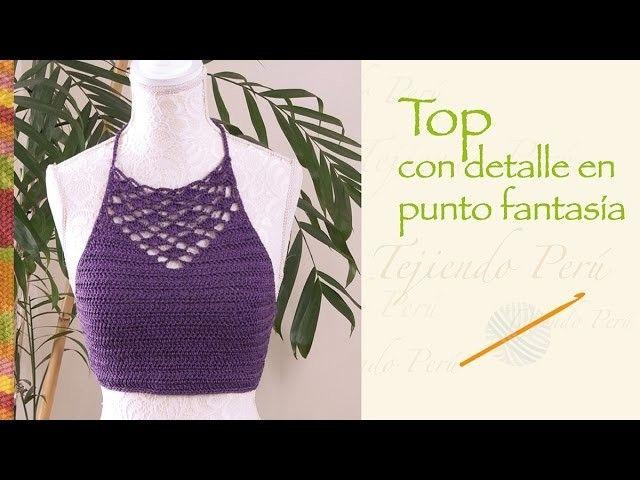 Top de verano con detalle en punto fantasía tejido a crochet. Talla S  (¡incluye diagramas!)