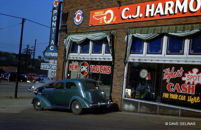 Pontiac GMC Dealership - C.J. Harmon's - Neon Sign - 1935 Dodge - Circa 1946