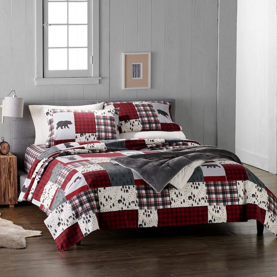 BEAUTIFUL REVERSIBLE RED HUNTING MOOSE BEAR TREE LOG CABIN PLAID QUILT SET QUEEN