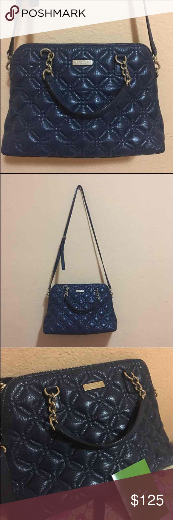 Kate Spade shoulder bag Authentic, used once like new condition. Navy blue color , quilted design. Has inner zipper pocket and 2 pocket slots on the other side. Medium size bag 9in height, 13in width. kate spade Bags Satchels