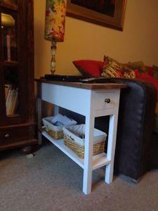H60 w25 d80cm bespoke deep narrow sofa side table drawer waxed top h60 w25 d80cm bespoke deep narrow sofa side table drawer waxed top warm oak watchthetrailerfo