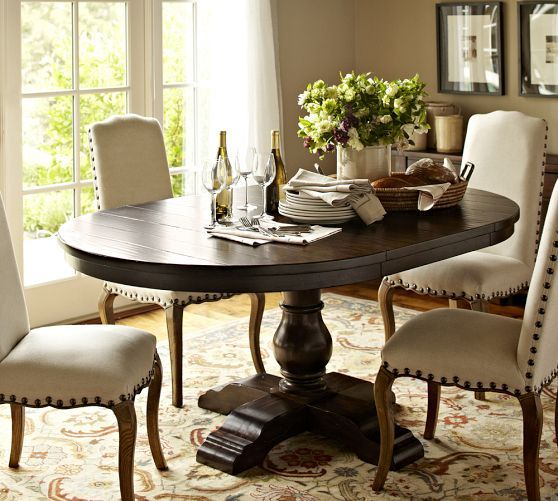 Round Oval Table For Eat In Nook Cortona Extending Pedestal Dining