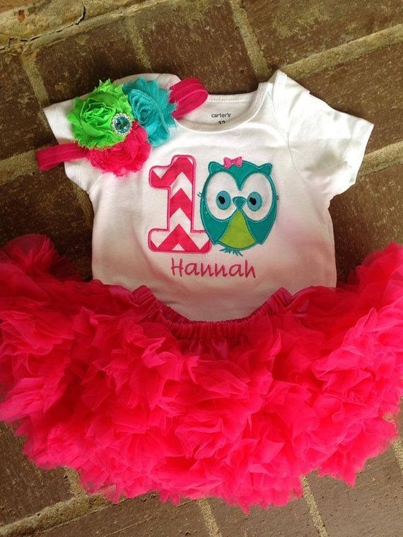 Hot pink lime and teal owl birthday outfit 1st by CEBowtique