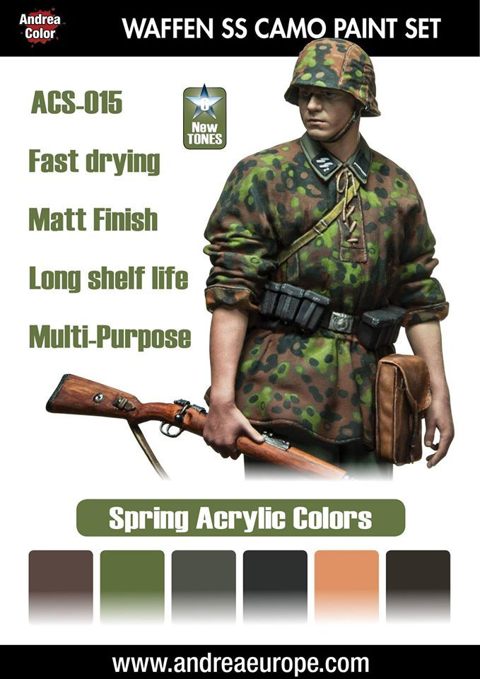 The Modelling News: A new SS Sturmmann, France 1940 & paint sets to shade them from Andrea Miniatures