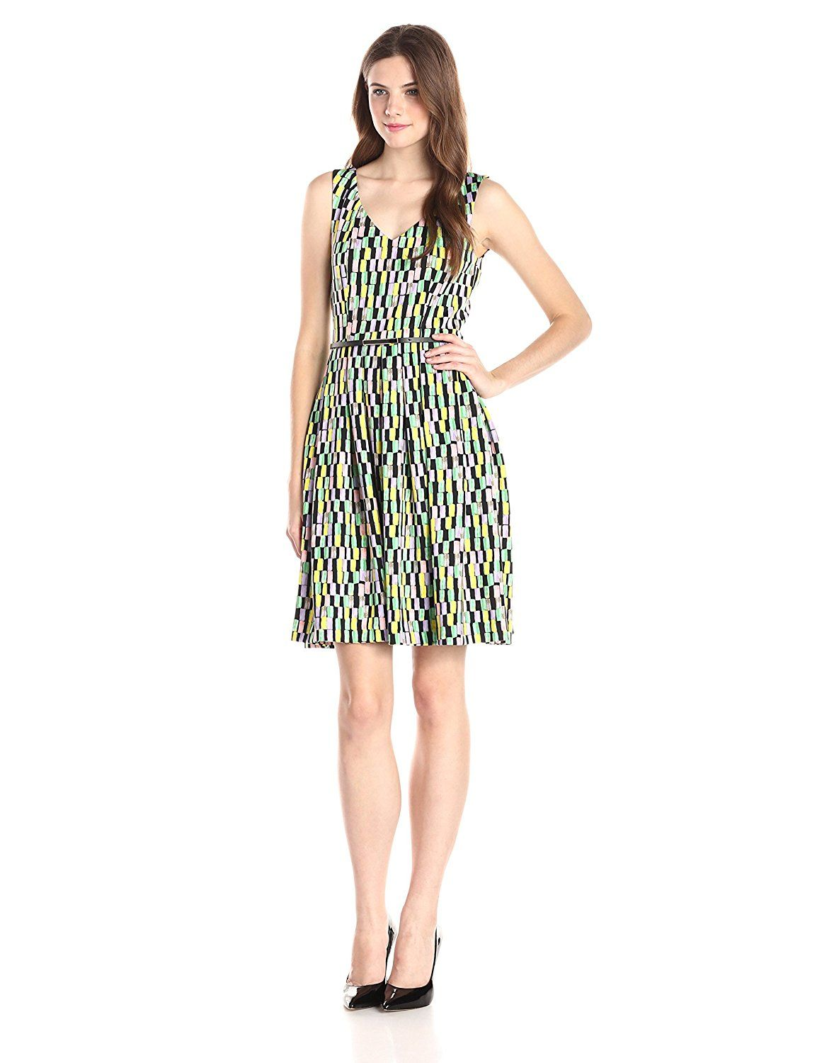 Calvin Klein Women S Sleeveless Printed Fit And Flare