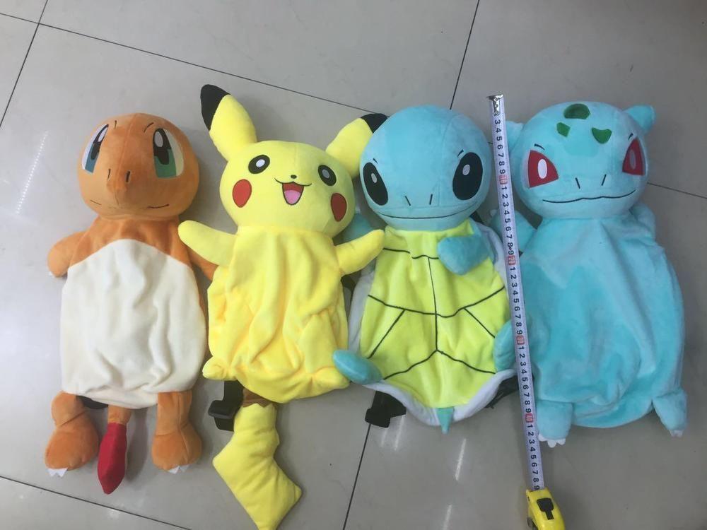 4pcs Pokemon Charmander Bulbasaur Pikachu Plush Doll Backpack ...