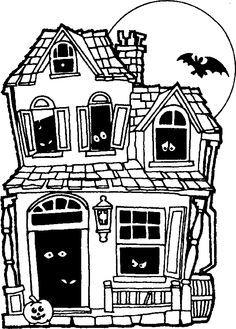 Spooky House Drawing : spooky, house, drawing, Haunted, House, Drawing, Google, Search, Drawing,, Halloween, Coloring, Sheets,