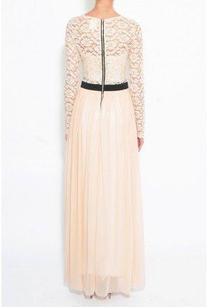 Peach lace top maxi dress