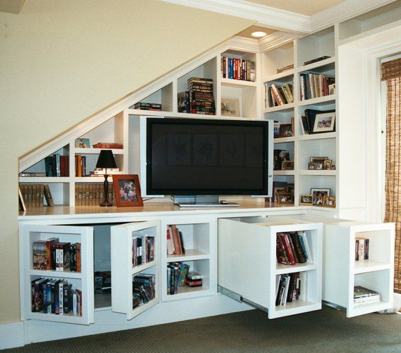 Media Center With Secret Storage. This Media Center And Library Has Hidden  Storage Behind Secret