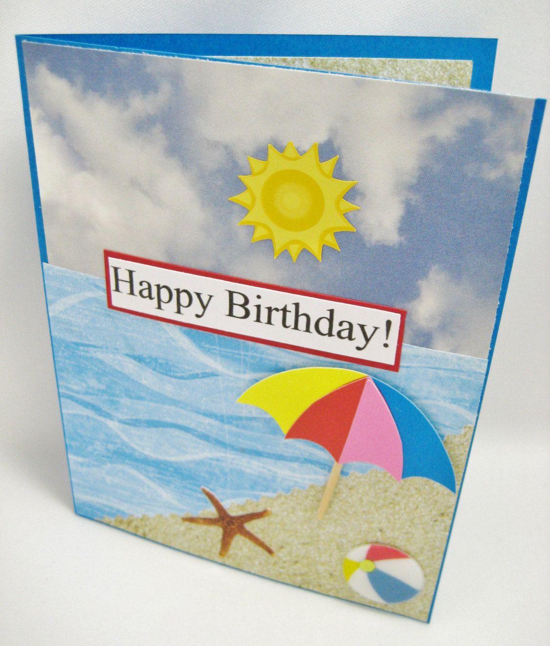 Beach Birthday Card Ocean Themed Card Sandy Beach Card Handmade