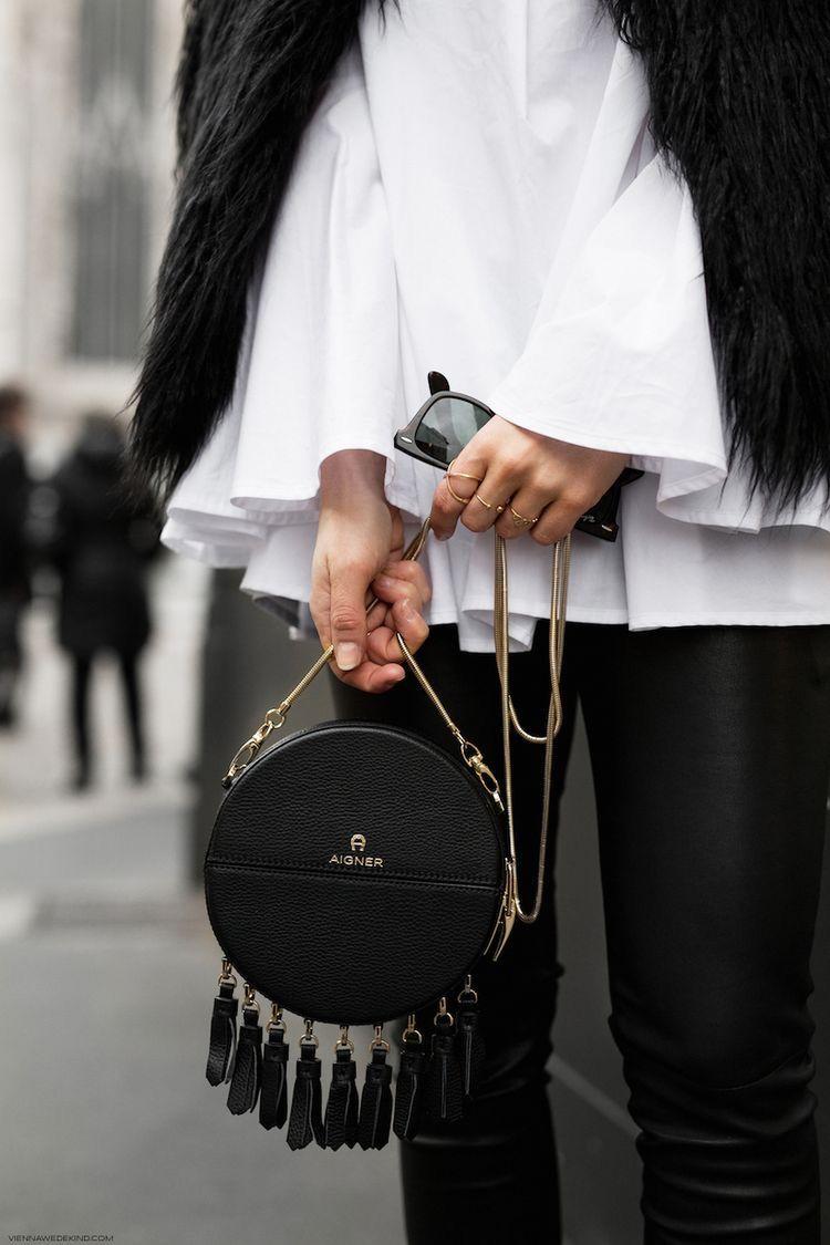 Pompons Petit Noir Le Rond CuirIdées De Mode Sac Des Avec tsQdxhrC