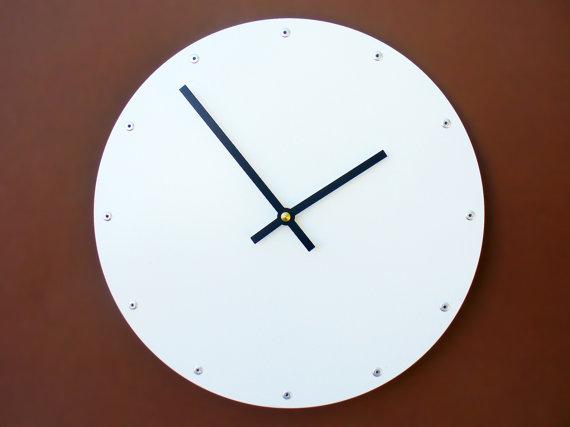 Circle Medium Wall Clock Painted White Modern