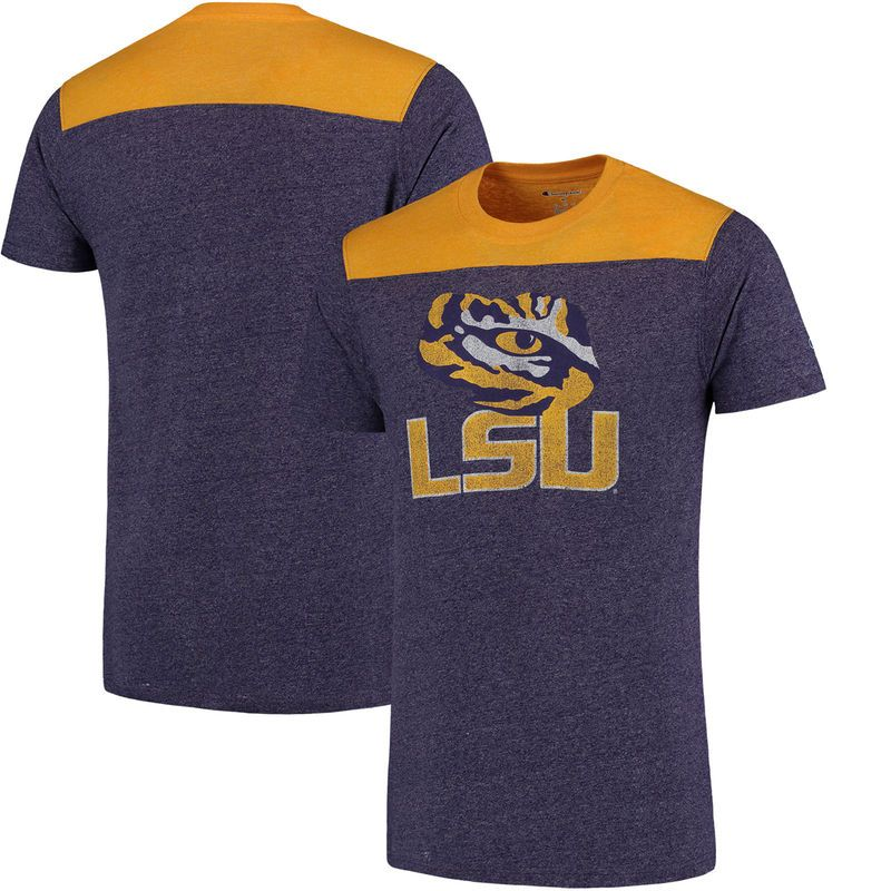 LSU Tigers Champion Spike Color Block T-Shirt - Heathered Purple