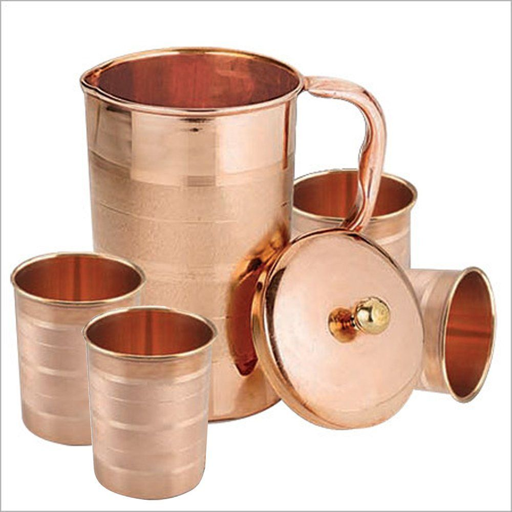 Buy Set of 4 Water Glasses and a Jug with lid, Copper Drinkware Set for Ayurvedic Healing, Capacity 1.6 Litre Online at Low Prices in India - Amazon.in