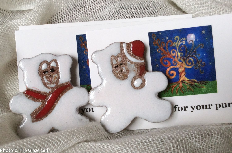 Polar Bear Pin - Holiday Pin - Christmas Pin - Polar Bear Brooche by GlazeGirlDesigns on Etsy