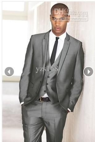 Two button grey Groom Tuxedos Men's prom suit wedding suits(jacket ...