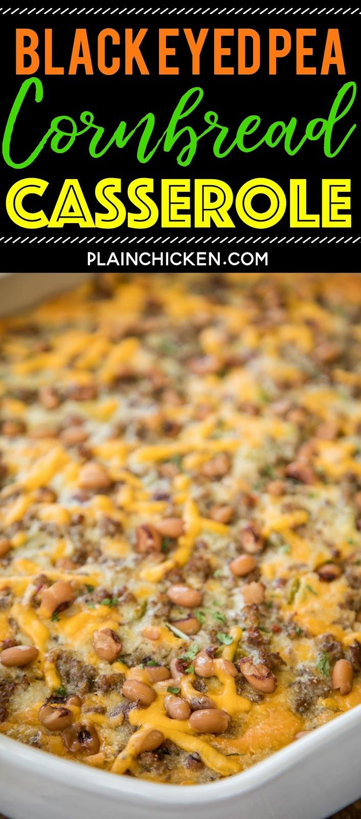 Black Eyed Pea Cornbread Casserole recipe - homemade cornbread loaded with sausage, creamed corn, cheddar cheese, black eyed peas, green chiles, and jalapeños. Perfect for your New Year's Day meal! Can make ahead of time and freeze for up to a month. Everyone LOVES this easy one pan meal!