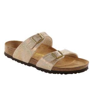 Birkenstock footwear has a contoured cork/latex footbed that helps promote  foot health. Comfort footwear in leather.