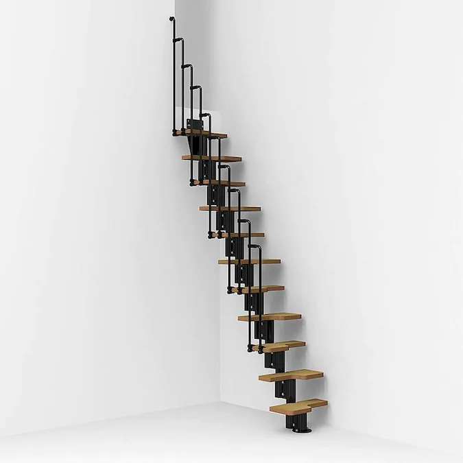 Arke Nice2 X 9 7 Ft Black Modular Staircase Kit Lowes Com In 2020 Modular Staircase Staircase Kits Staircase