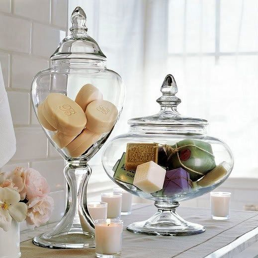 Apothecary jars bathroom decor i would loveeee this in for Bathroom accessories jars