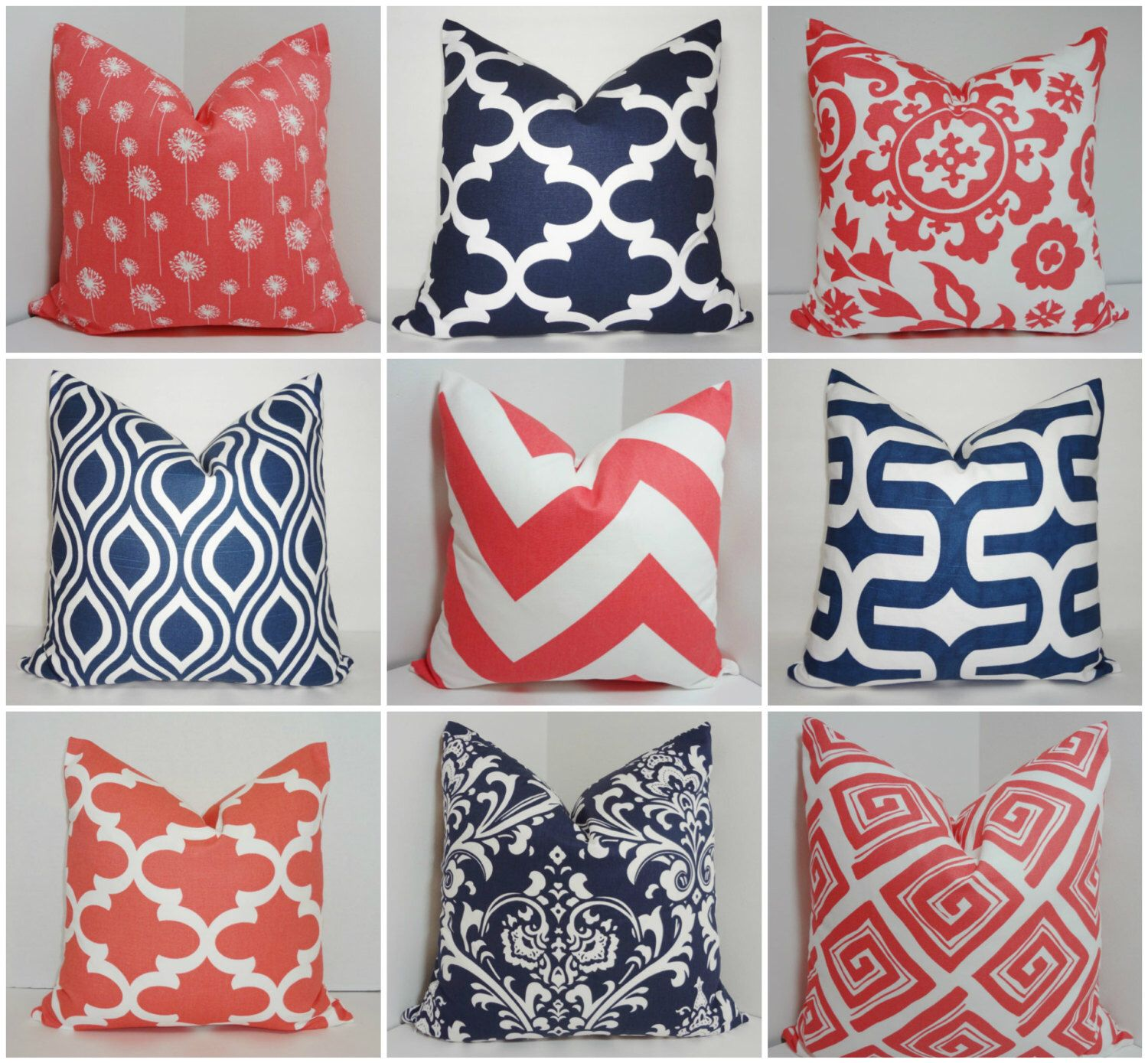 Coral & Navy Pillow Covers Dandelion Damask Chevron Moroccan Print Pillow Covers Choose Size by HomeLiving on Etsy https://www.etsy.com/listing/246892070/coral-navy-pillow-covers-dandelion