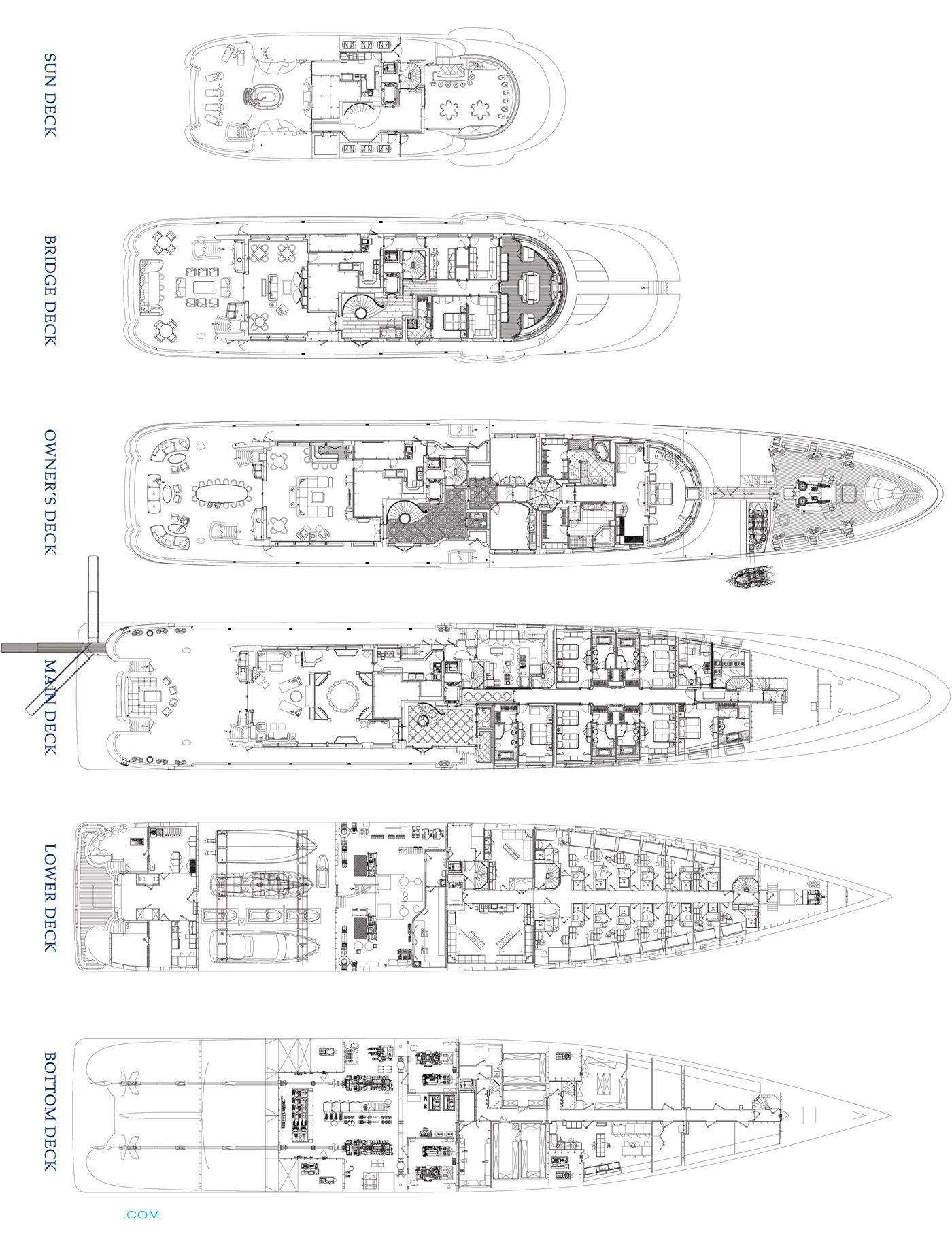 Cakewalk luxury yacht deck plans yachts pinterest for Deck plans for sale