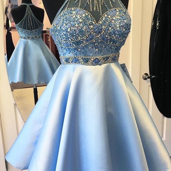 cd34ae2cc2 Short Light Blue Prom Dresses Sexy Rhinestone Beaded Halter Evening Dresses