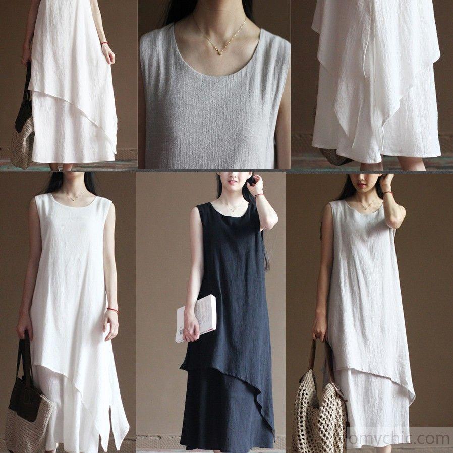 Black layered linen dress summer long maxi dresses beach sundress