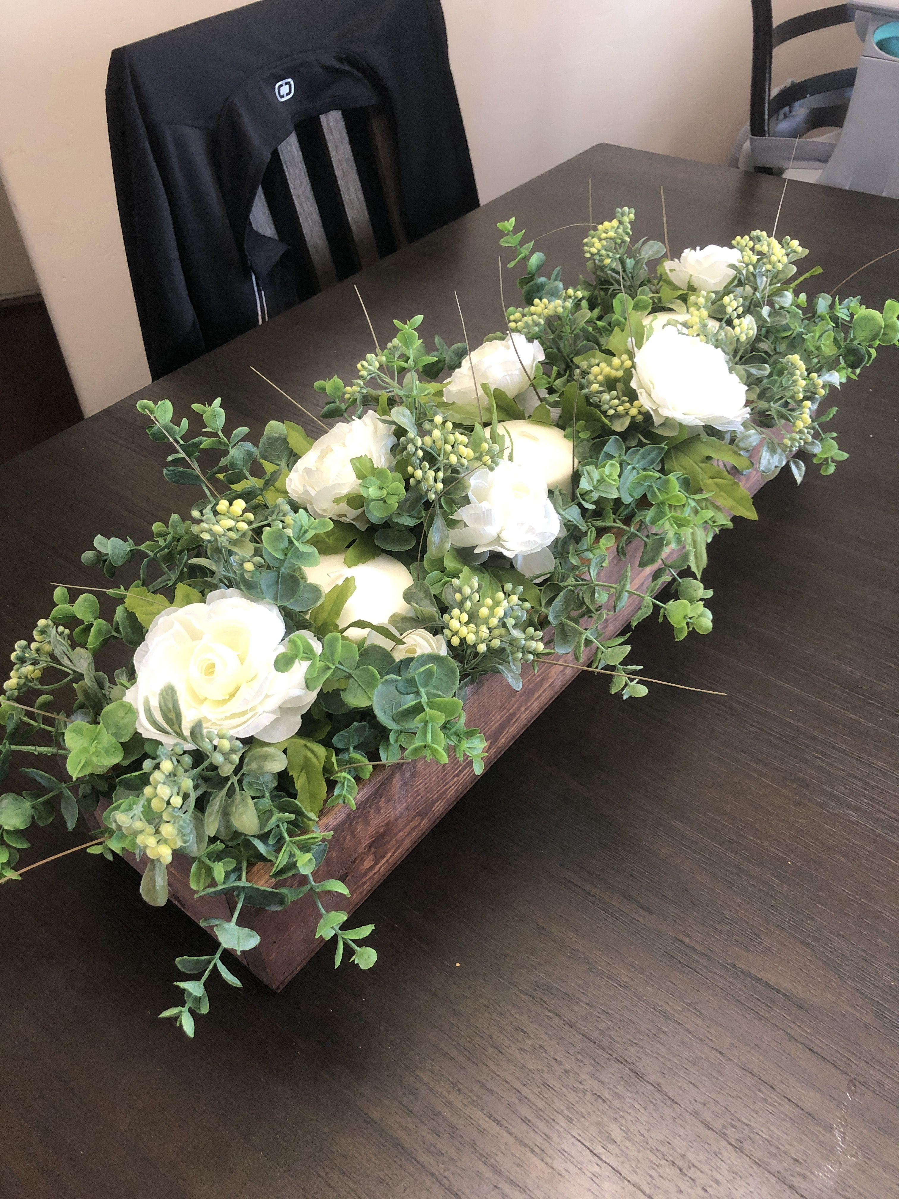 Green Floral Centerpiece Dining Room Table Centerpieces Farmhouse Style Dining Room Wooden Box Centerpiece