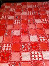 HANDMADE COKE COCA-COLA  RAG QUILT ~ RED & WHITE 60x72
