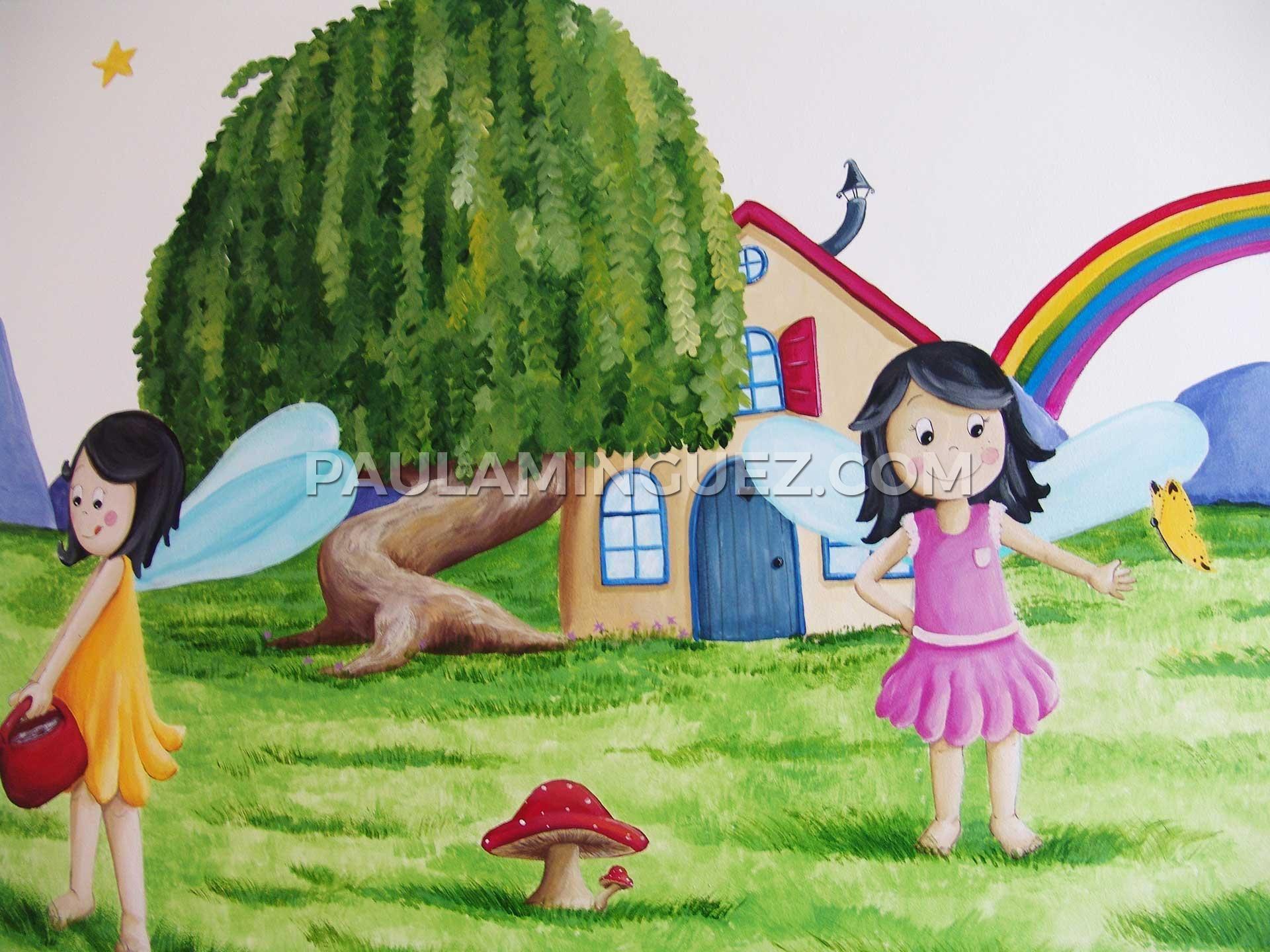 Mural infantil paisaje con hadas y duendes pintado a mano - Cuadros para decorar ...
