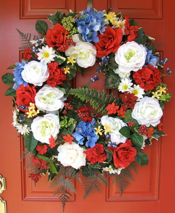 Red white and blue patriotic americana rustic wreath by for Red white blue flower arrangements