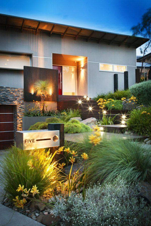 vorgartengestaltung modern exterior patio vielseitige pflanzenbeete beleuchtung - Vorgartengestaltung Modern