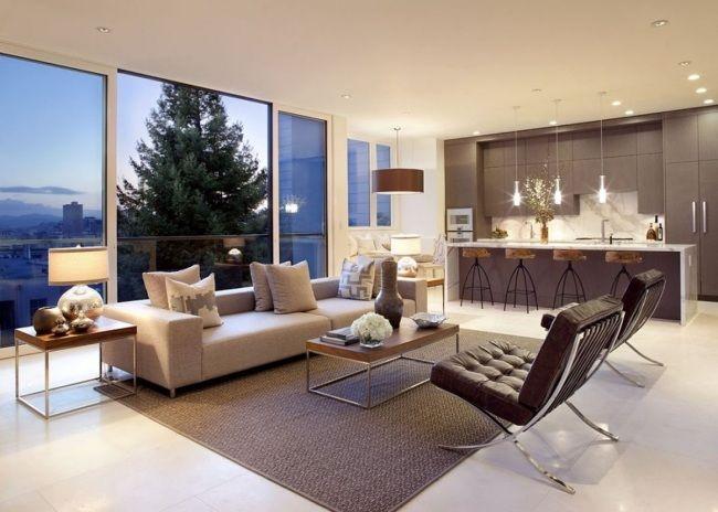 Wohnzimmer Küche Weißer Boden Fliesen Beige Braun Rustikale Barhocker