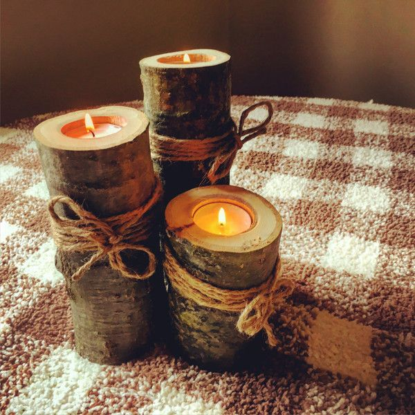 Wooden Candle Holders Rustic Wedding Decor Wooden Log Tealight Set