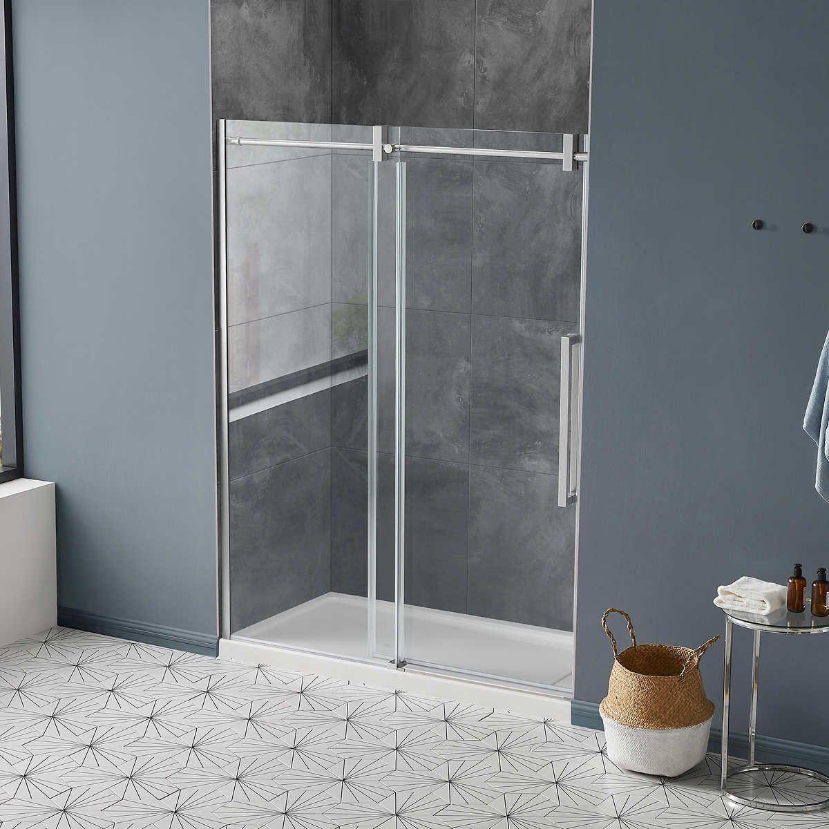 Ove Decors Dayton 60 Premium Shower Door Satin Nickel Shower Doors Shower Sliding Glass Door Glass Shower Doors