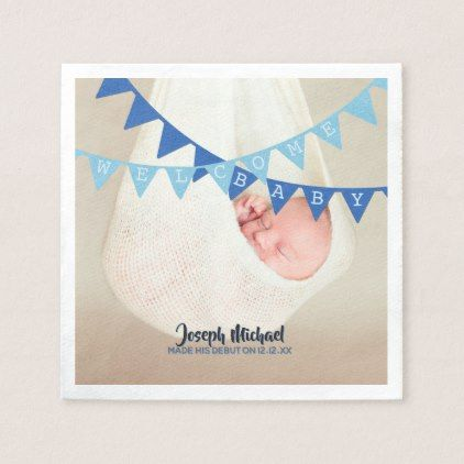 welcome baby boy banners photo dated personalized paper napkin