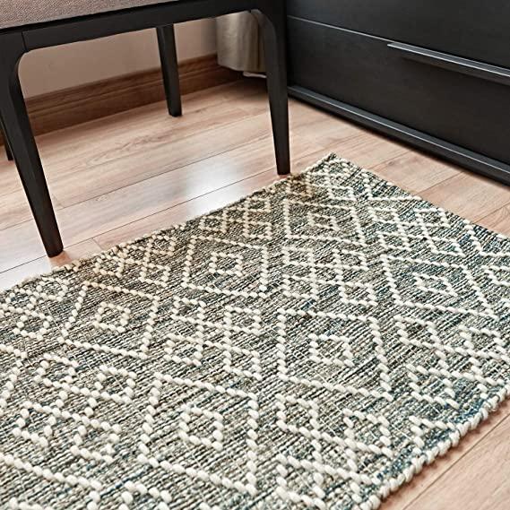 Amazon Com Motini Hand Woven Wool Geometric Runner Rug 2 X6 For Hallway Inside Non Slip Door Rugs For Front Door Inside Entryway K Rugs Green Rug Rug Runner