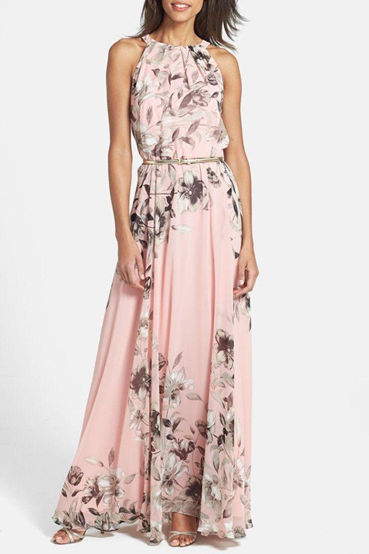 Baby Pink Floral Sleeveless Halter Maxi Dress | Vestiditos