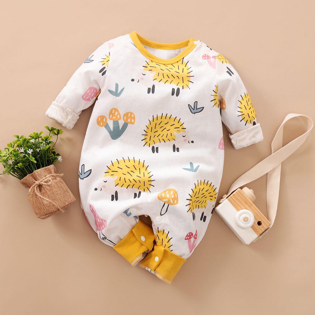 Cute Hedgehog in Love Printed Baby Infant Girls Long Sleeve Romper Jumpsuit Bodysuit