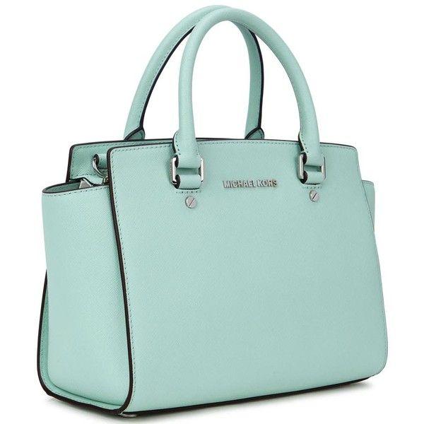 3362eae074c6 Womens Tote Bags Michael Kors Selma Medium Mint Leather Tote ( 405) ❤ liked  on