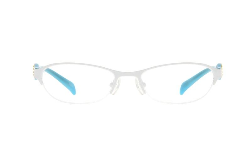 8a82849286d White Children s Stainless Steel Half-Rim Frame with Acetate Temples And  Spring Hinges  678930