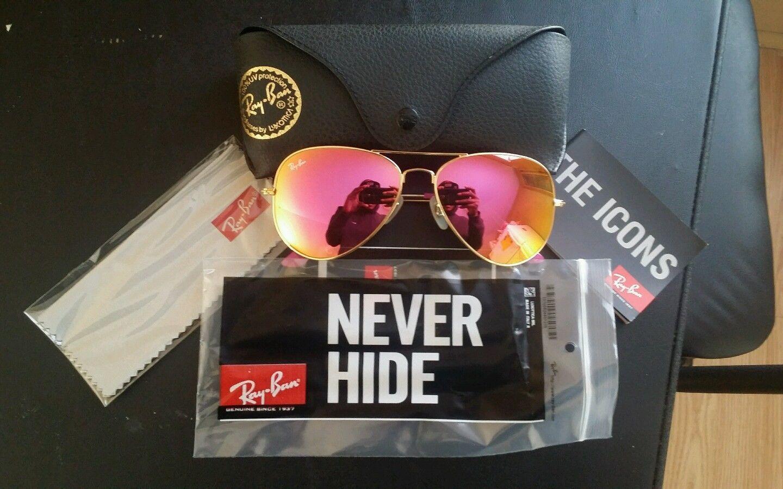 d3c5ba9345e0 Ray Ban Cyclamen Pink Flash Aviator Sunglasses RB3025 58MM Lens Gold Frame  EUC