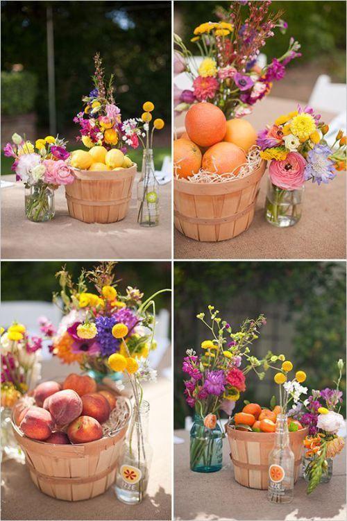 centros de mesa con frutas para una decoracin llena de color