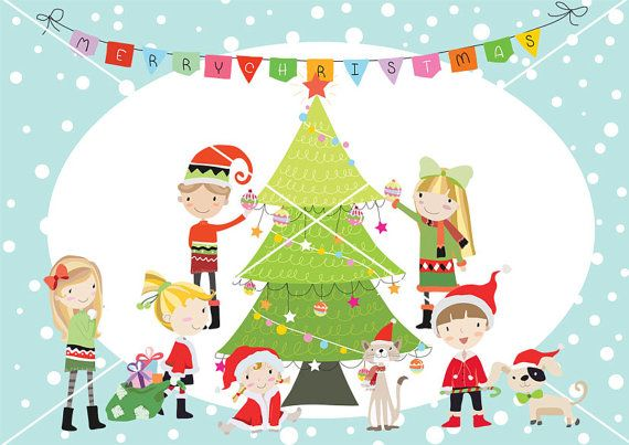 Christmas Party Pictures Clip Art.Christmas Party Christmas Children Christmas Clipart By Handmek