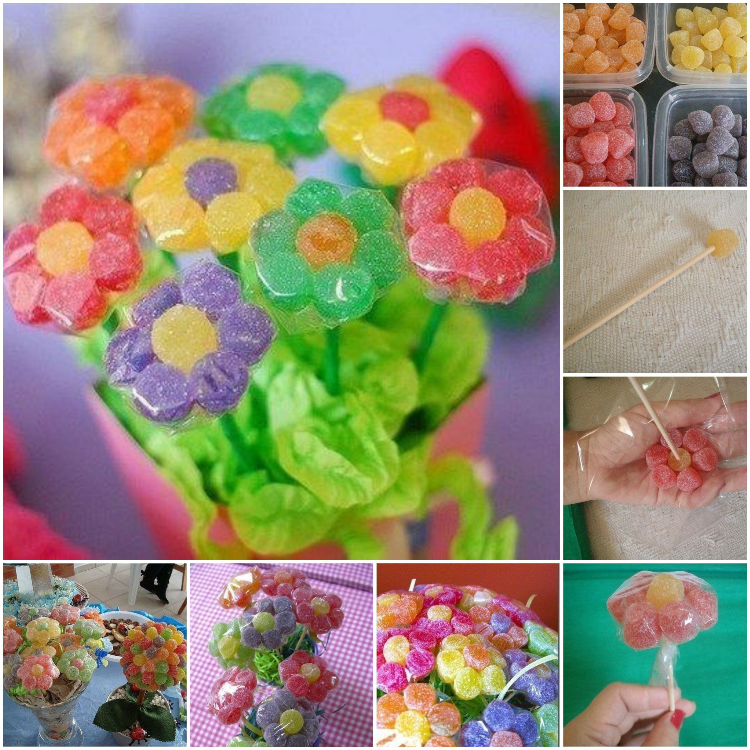 DIY Gummy Candy Flowers | Candy flowers, Treat holder and Candy bouquet