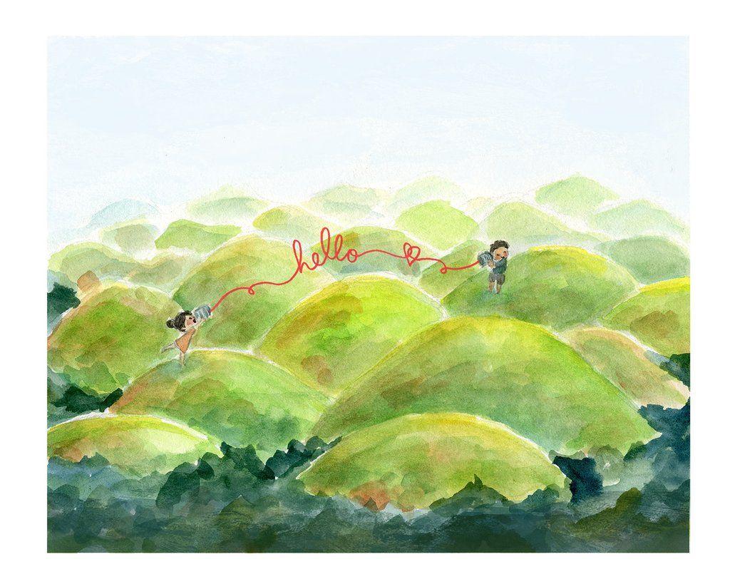 Chocolate Hills Hello Art Print Art Prints Art Watercolor Paintings